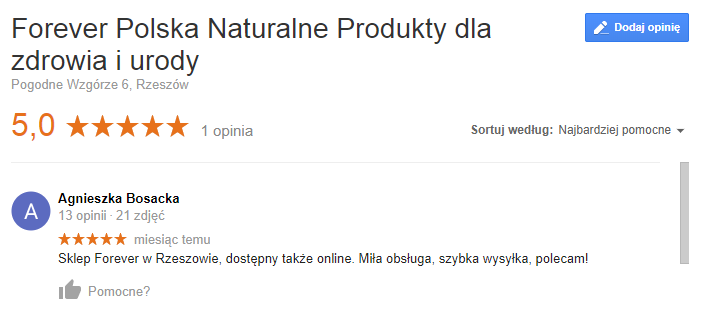 Opinia o naturalnych suplementach Forever Living Products Rzeszów